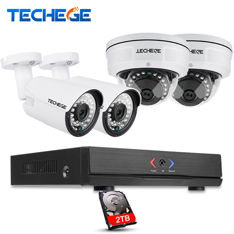 Techege 4CH POE NVR 1080P HDMI 2.0MP 1.3MP 1.0MP IP Camera Weatherproof Outdoor IR CCTV Camera Security System Surveillance Kit