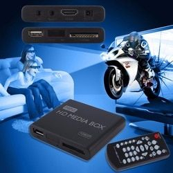AU EU US Plug Mini Media Player  Media Box TV Video Multimedia Player Full HD 1080p Support MPEG/MKV/H.264  AV USB Black