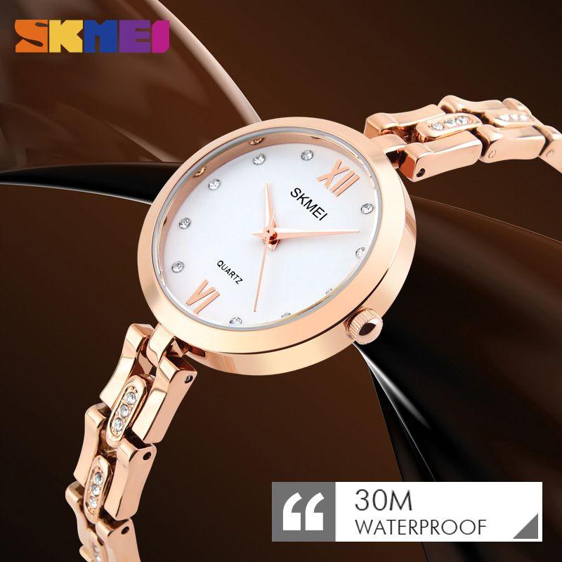 Moda cuarzo reloj de vestir mujeres rhinestone impermeable reloj de lujo relojes de pulsera relogio feminino mujer relojes nueva skmei reloj