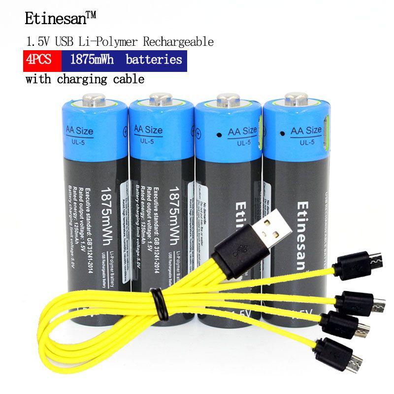 4 pièces Etinesan 1.5 V AA 1875mWh batterie lithium-ion rechargeable li-polymère avec câble USB