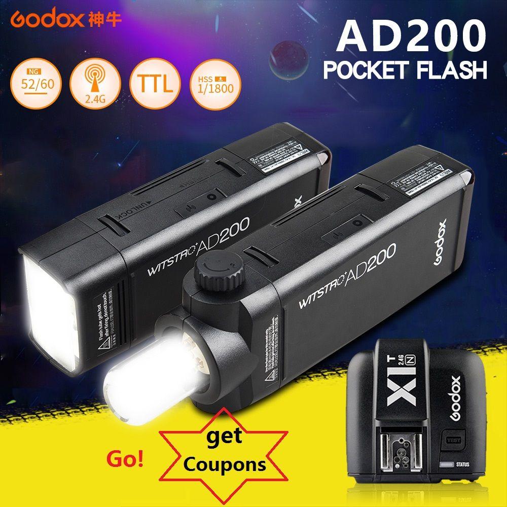 Godox AD200 Pocket Flash Strobe Speedlite 200W with Lithium battery + X1 trigger for Sony Canon Nikon Cameras