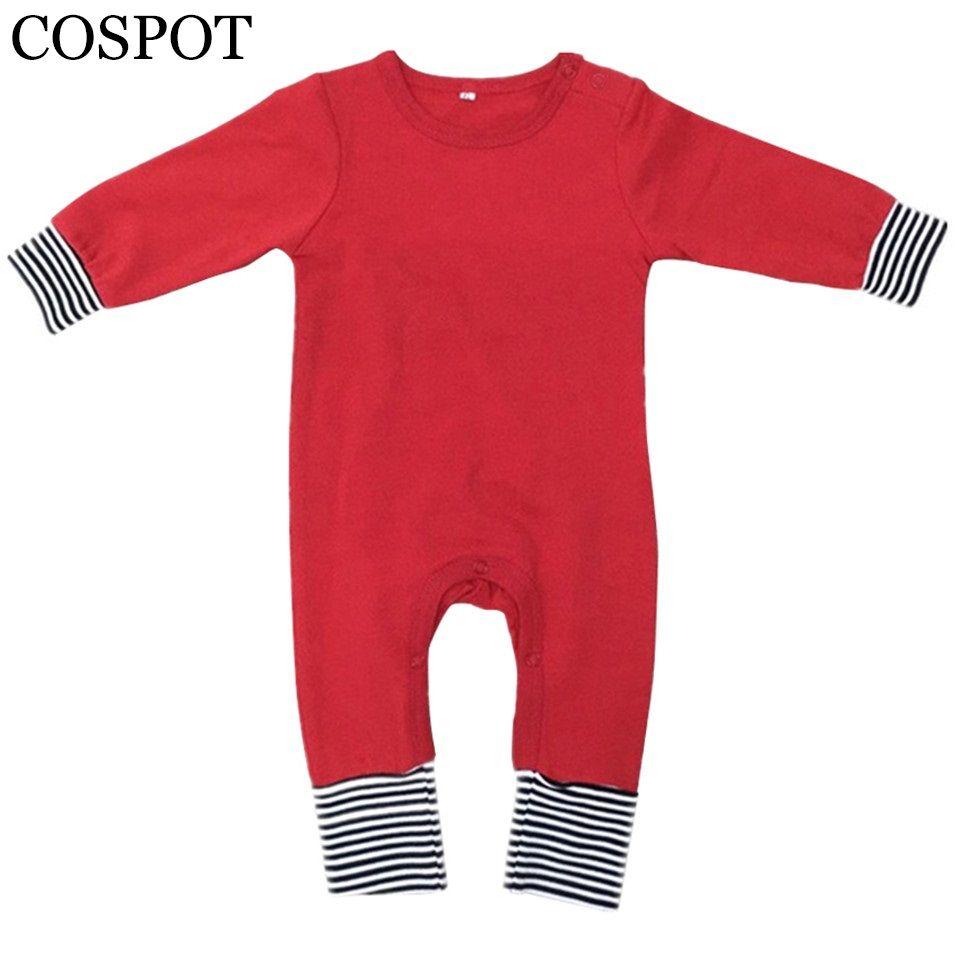 Bébé garçons filles barboteuses de noël nouveau-né printemps hiver couleur unie pyjamas enfants rouge noir jaune combinaison 2017 nouveau 25