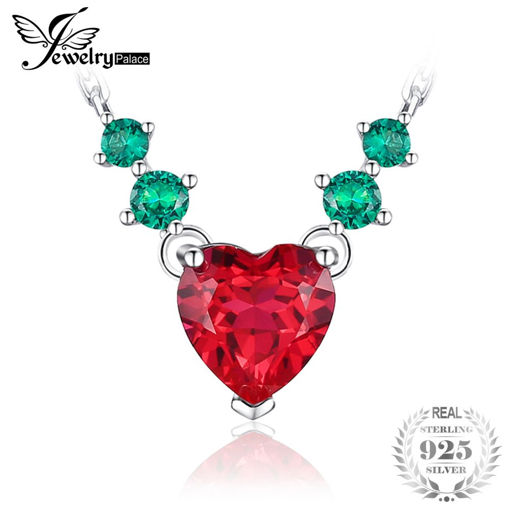 JewelryPalace Heart Love 2.8ct Green Nano Russian Simulated Emerald Red Created Ruby Necklace 925 Sterling Silver 45cm Chain
