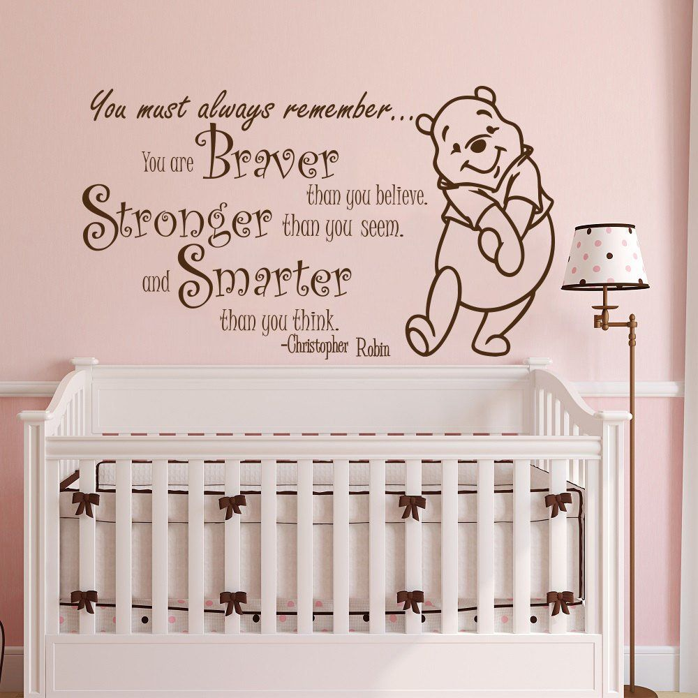 Winnie l'ourson Citation de Mur de Vinyle Autocollant Pour Chambre D'enfants Stickers Citation Plus Courageux Plus Fort Plus Intelligent Mur Décor de Nurserie Bébé Chambre w039