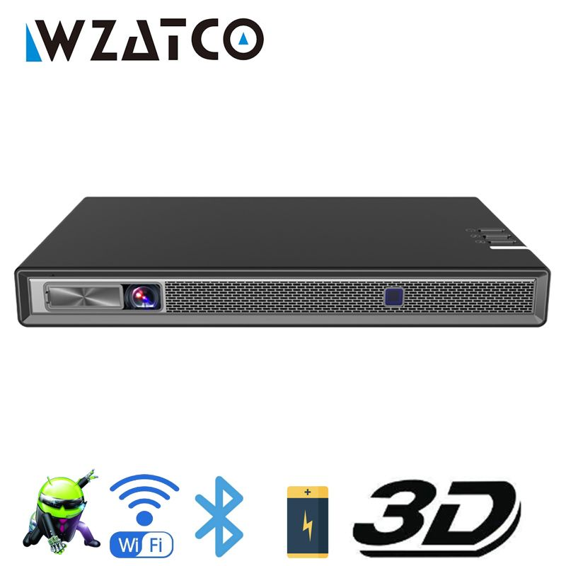 WZATCO T5 HD 4K Echt 3D DLP Projektor Batterie mit Zoom, Auto Keystone, android 6.0 WiFi LED Smart Proyector Bluetooth Airplay