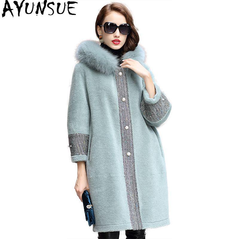 AYUNSUE 2018 Real Wool Fur Coat Female Long Sheep Shearling Jacket Women Thick Warm Winter Coats Natural Fox Fur Hooded WYQ1831