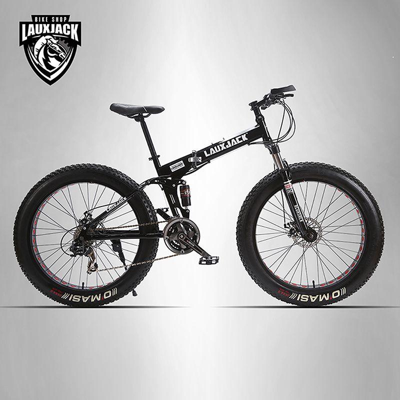 LAUXJACK Mining two-ply bicycle steel folding frame 24 speed Shimano mechanical disc <font><b>wheel</b></font> disc brakes 26 x4.0 Fat Bike