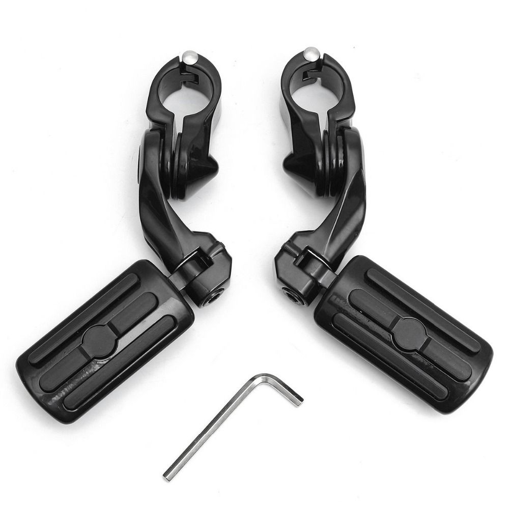 1 Pair Black 1.25''/3.2cm Adjustable Motorcycle Foot Pegs Pedals Rear Short Type For Harley