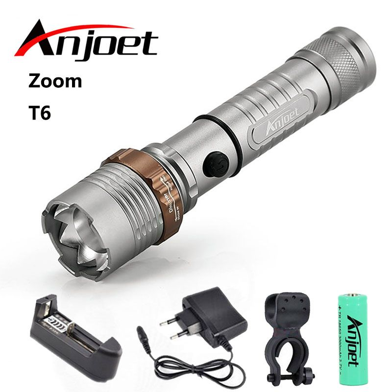Tactical Flashlight Zoom torch waterproof XM-L T6 led 5-mode Zoomable light hunting Camp+1*18650 Battery+Charger+Bicycle Clip