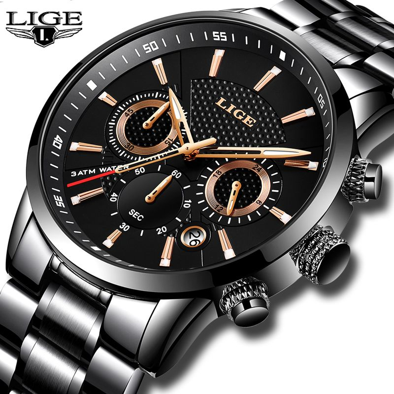 Relojes Hombre 2018 New LIGE Mens Watches Top Brand Luxury Fashion Business Quartz Watch Men Military Sport Waterproof Clock+Box