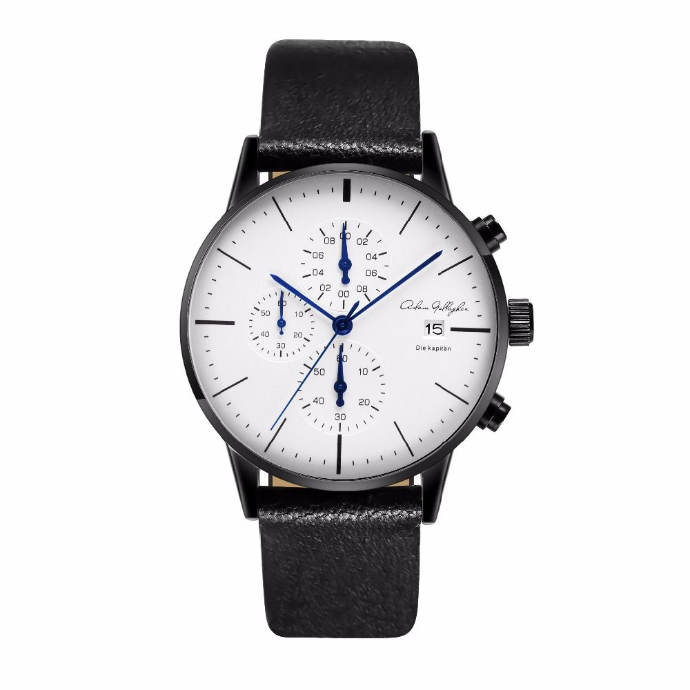 Chronograph Mens Watches Top Brand Luxury Leather Strap Sports Quartz Wrist Watches Multi-function Wristwatch Adam Gallagher