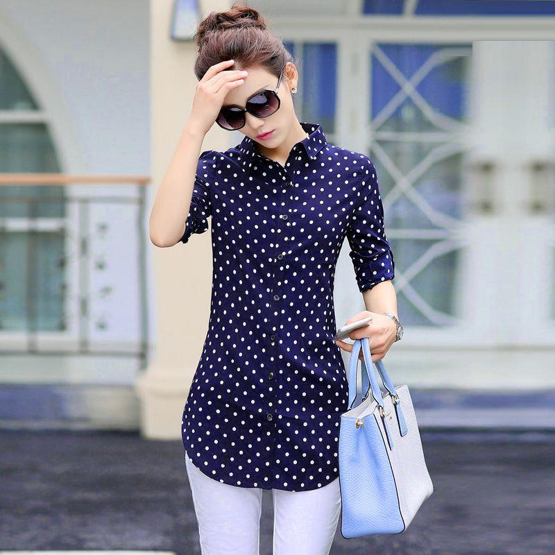 Nouveau mode impression Blouses femmes longues Style chemises 2019 coton dames hauts à manches longues Blusas Femininas grande taille femmes vêtements