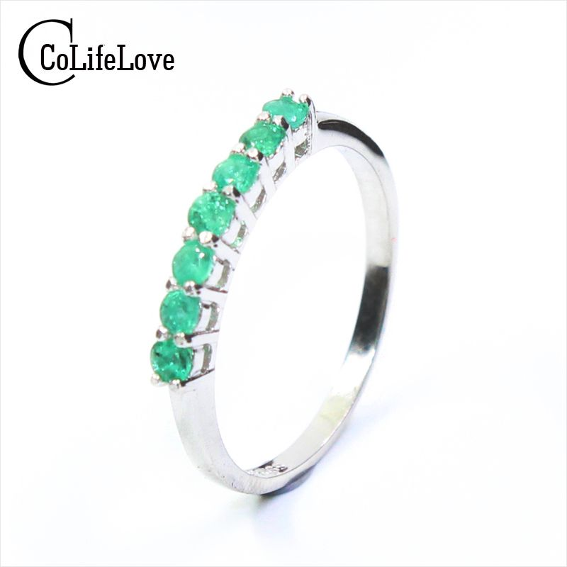 100% anillo Esmeralda natural sólido 925 anillo Esmeralda 2.5mm ronda natural Emerald piedras preciosas anillo de diseño simple anillo