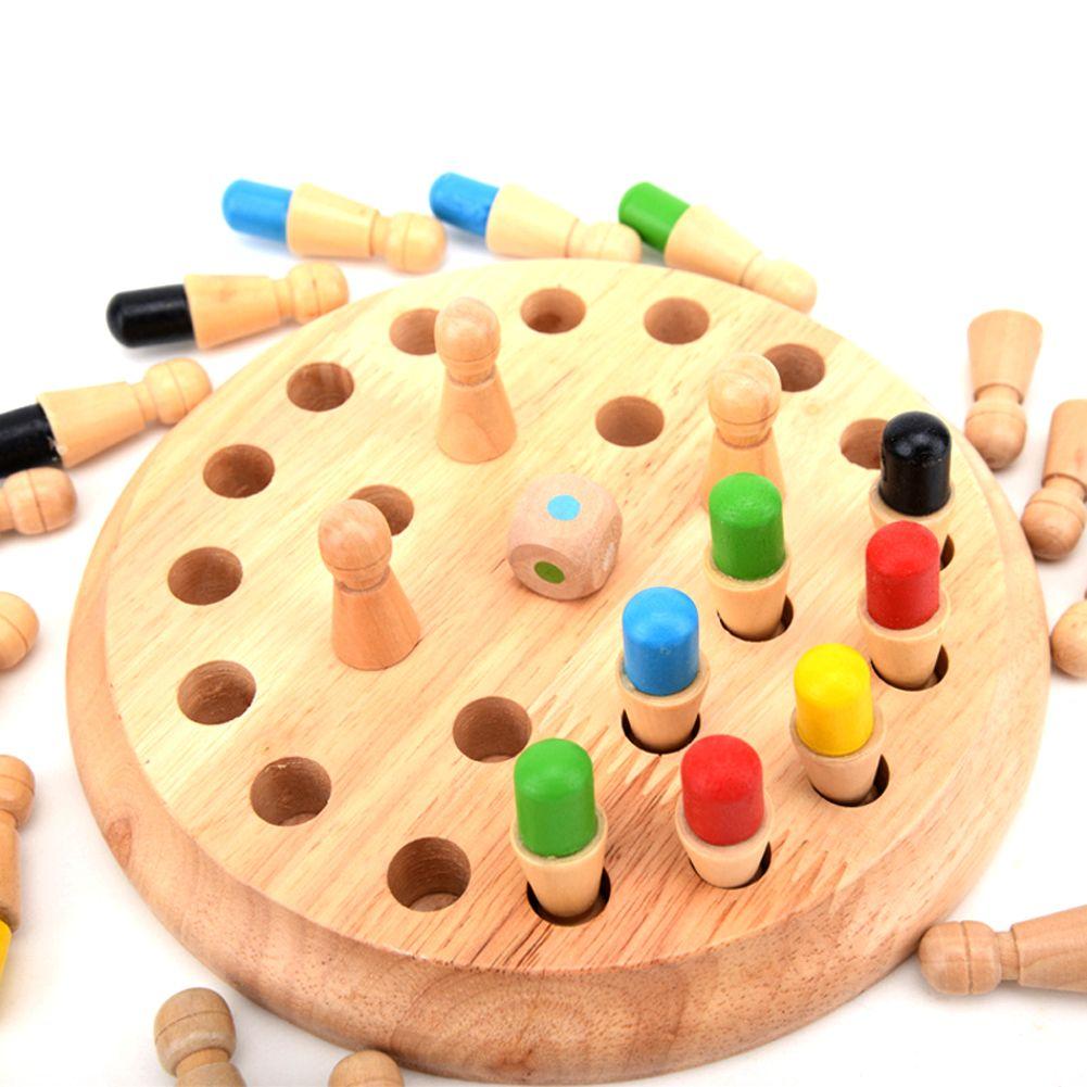 En bois Rond Mémoire Match Bâton Jeu D'échecs Jouets En Bois Enfants Montessori Brinquedo Enfants Tôt Éducatifs Blocs Jouet