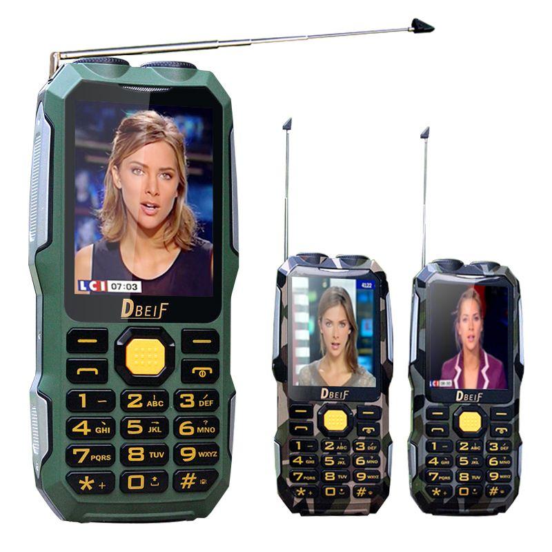 Dbeif d2016 волшебный голос двойной фонарик FM открытый противоударный MP3/MP4 Power Bank антенны аналогового ТВ прочный мобильный телефон сотовый p242