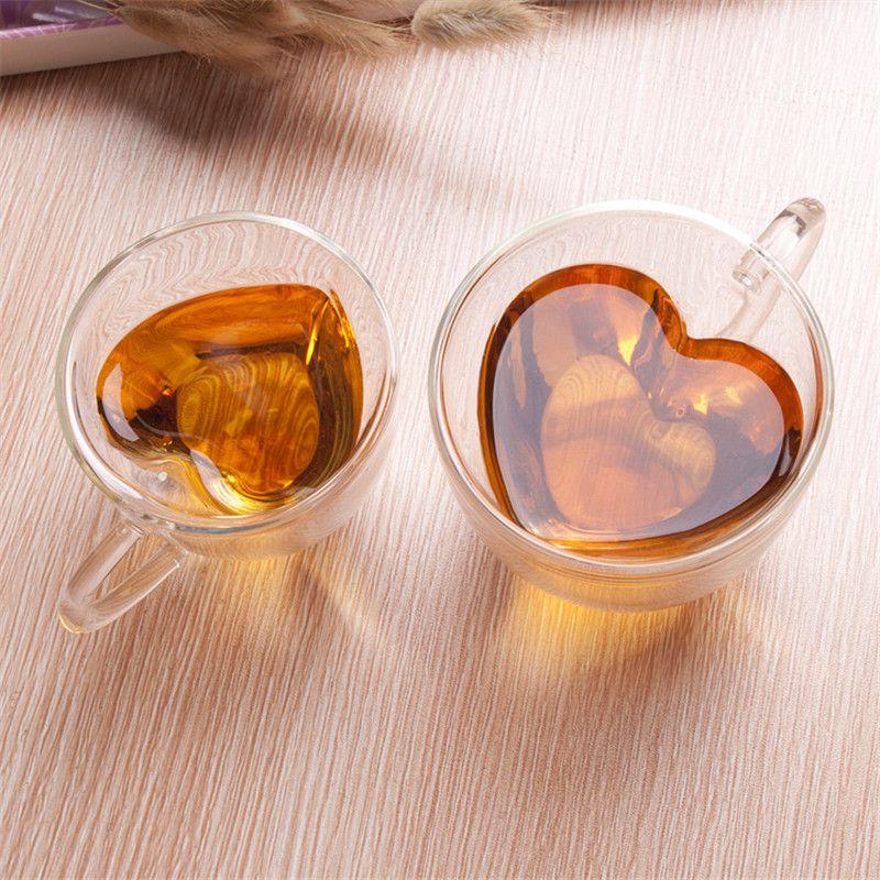 Coeur D'amour En Forme de Double Mur chope Résistant Kungfu Thé Tasse Lait jus de citron Tasse Verres Amant tasses à café cadeaux Mug