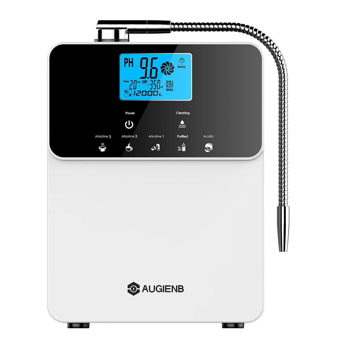 Augienb 12000L Water Ionizer Purifier Machine PH3.5-11 Adjust Alkaline Acid 5 Mode Settings Auto-Cleaning LCD Touch Water Filter