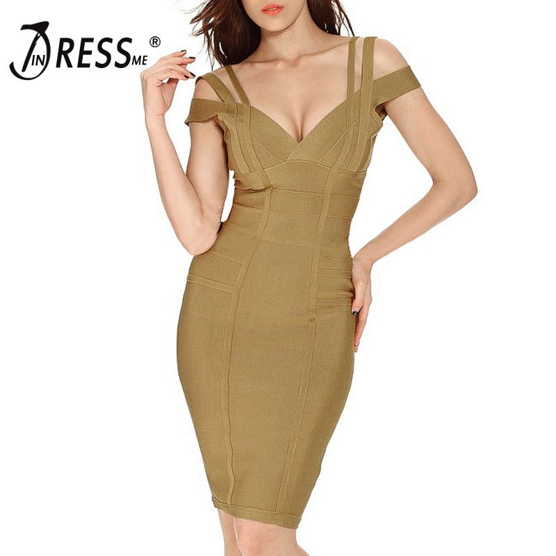 INDRESSME Women Party Bandage Dress Sexy Spaghetti Strap Deep V Knee Length Backless Prom Summer Bodycon Dress Vestidos 2017 New