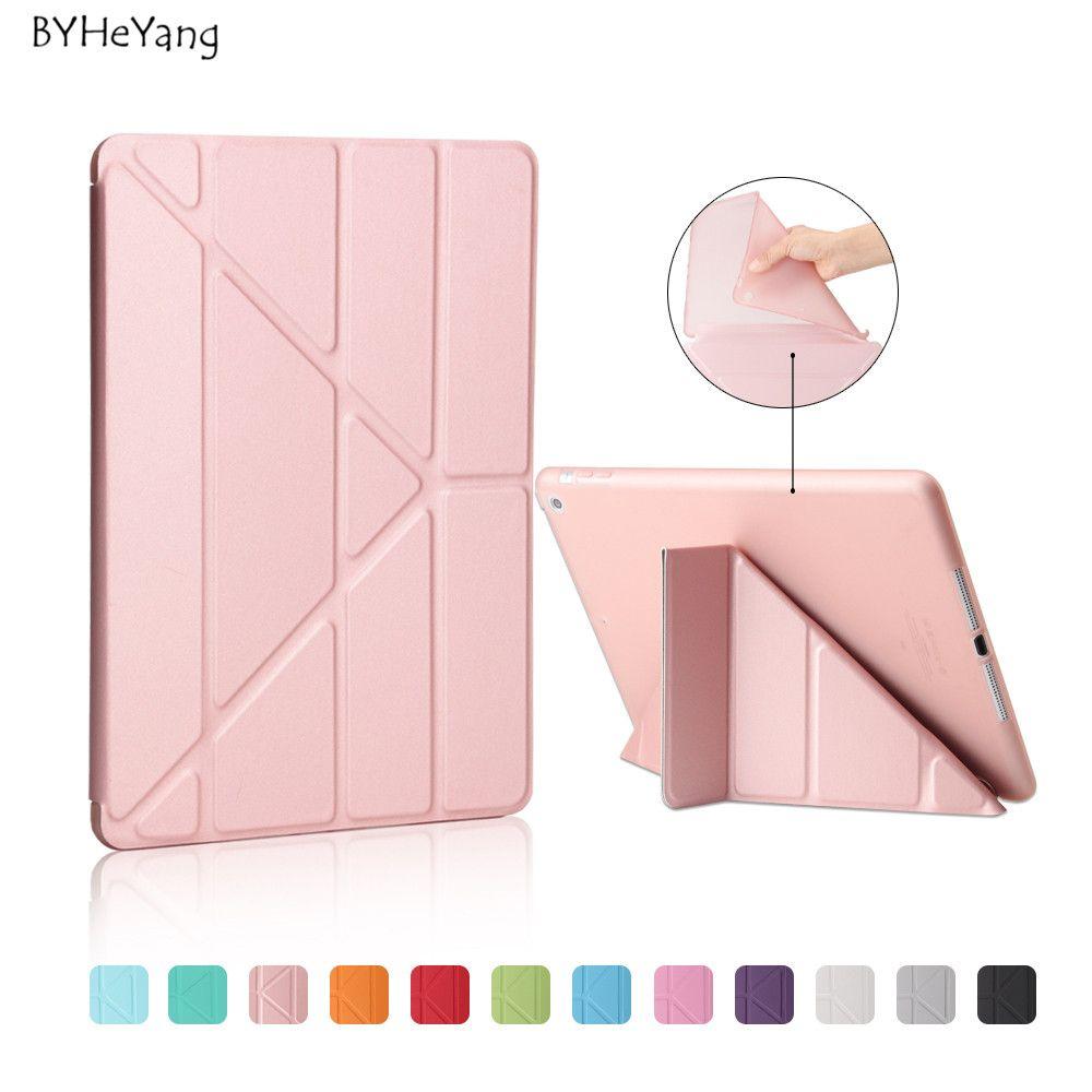 BYHeYang Doux TPU Cas pour Nouvel iPad 9.7 2017 2018 PU Smart Cas de couverture Aimant réveil sommeil Pour le Nouvel iPad 2017 modèle A1822 A1823