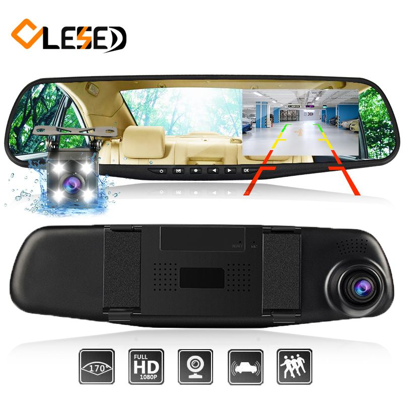 dash cam mirror dash camera dual cameras <font><b>lens</b></font> car dvr with two cameras rearview dashcam full hd video recorder front and rear