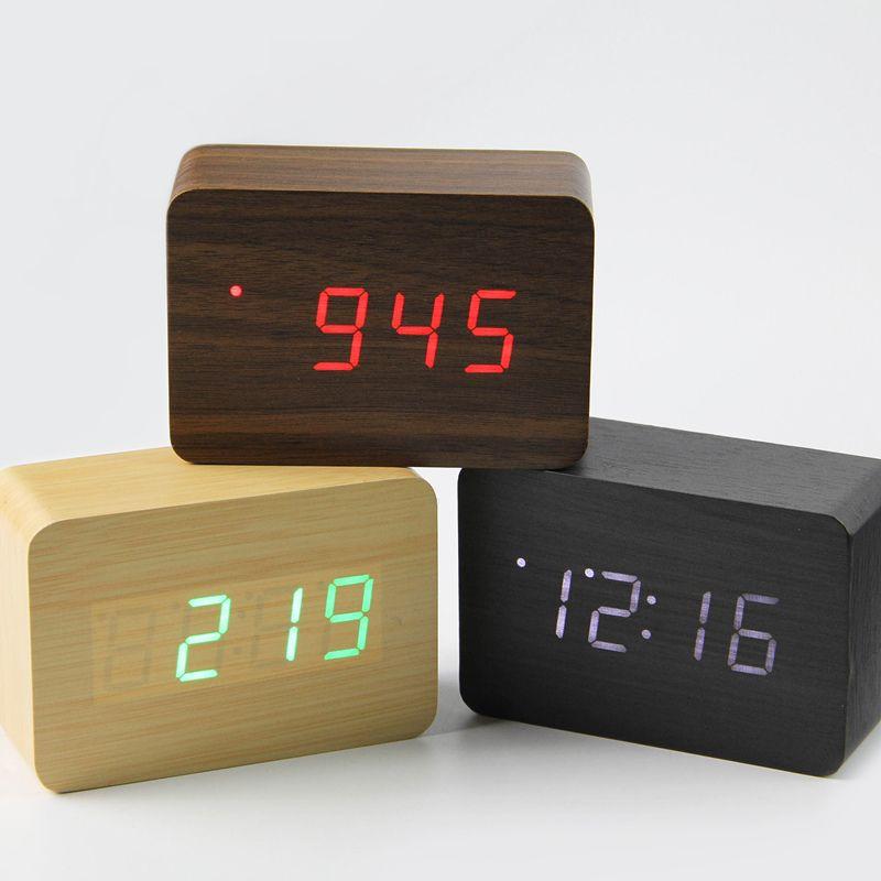 2019 petit mignon LED en bois horloge numérique désespoir tador contrôle du son USB affichage de la température électronique bureau Table horloge
