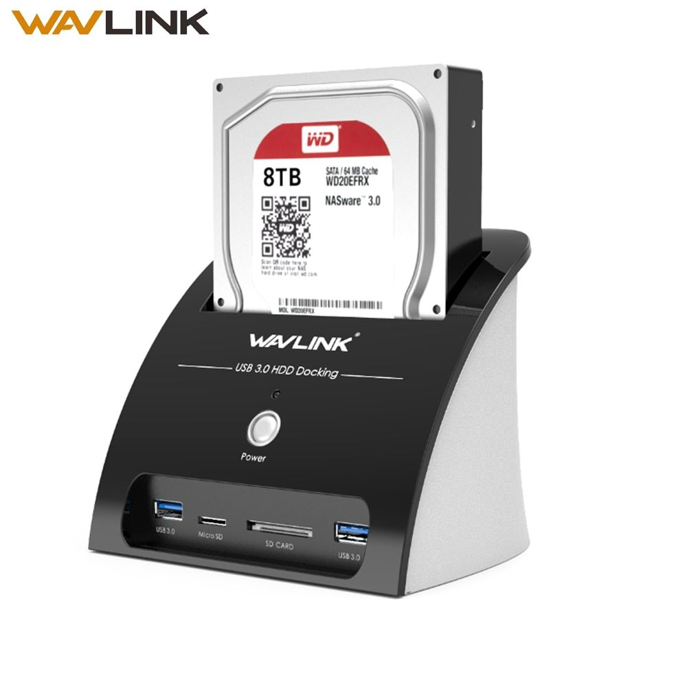 Wavlink HDD Docking Station 2.5 3.5 inch with Card Reader USB 3.0 to SATA Hard Drive External Enclosure for 2.5