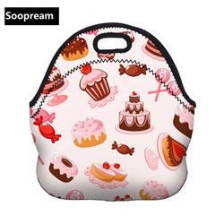 fresh rose flower handbags picnic bags Thermal Insulated Neoprene Lunch Bag Women Kids Lunch bags Cooler  Insulation picnic bag