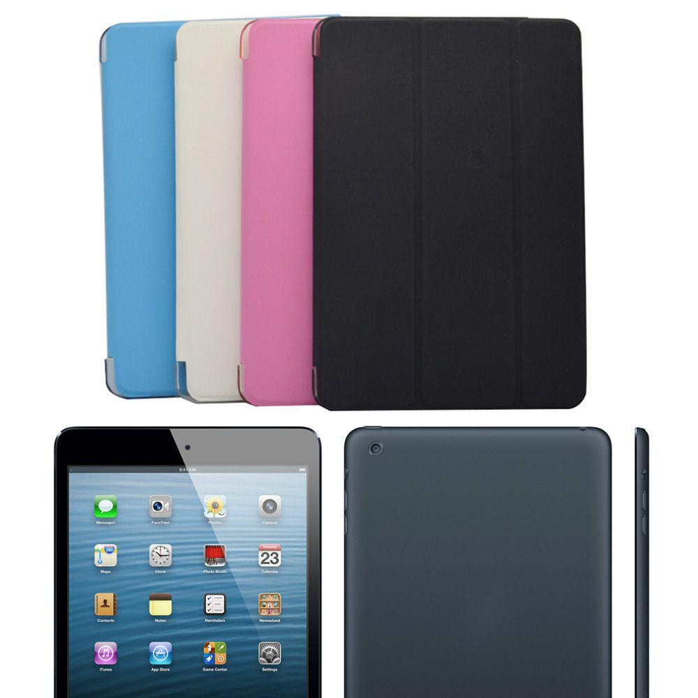 Neue Ultra Slim Wickelfalz PU Ledertasche mit Kristall Hart Zurück intelligente Standplatz-fall-abdeckung für iPad mini 1 2 3 7,9 tablet Flip Abdeckung