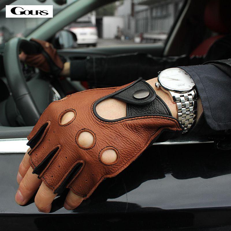 Gours Spring Men's Genuine Leather Gloves Driving Unlined 100% Deerskin Half Fingerless Gloves Fingerless Fitness Gloves GSM046L