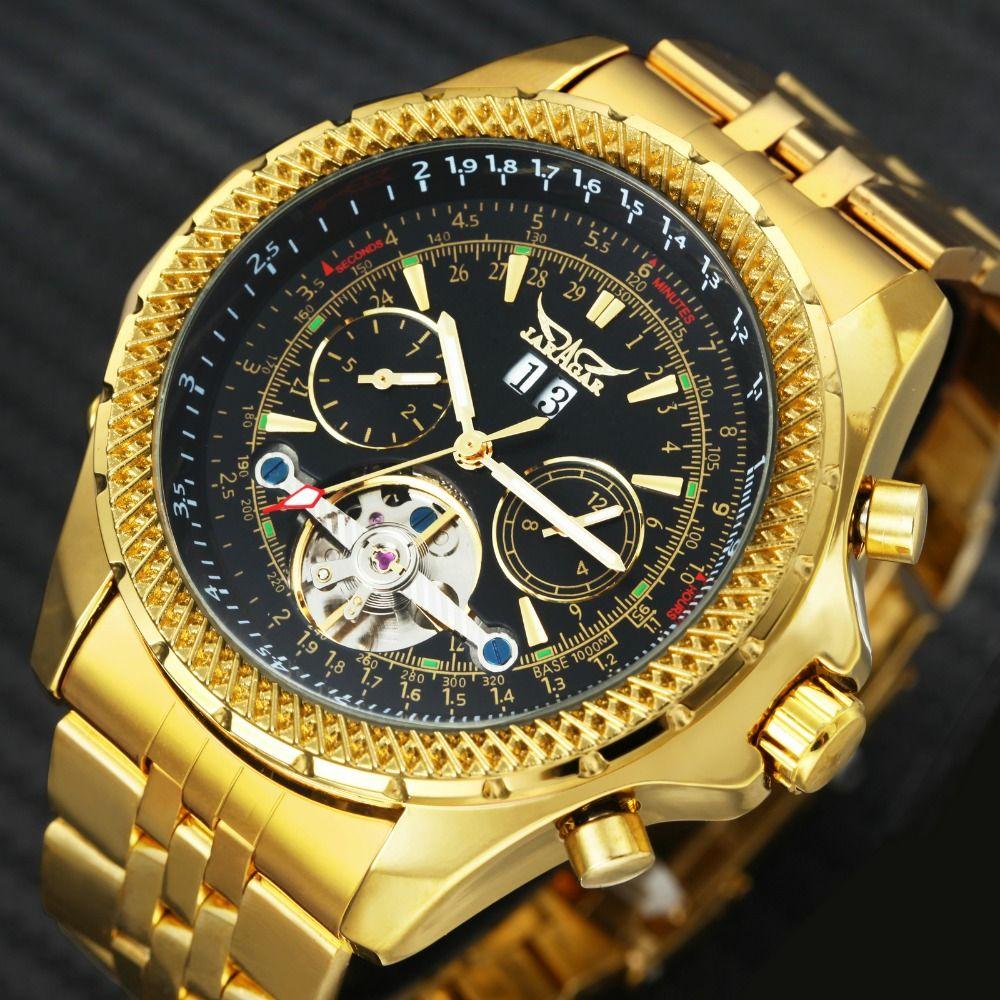 2019 JARAGAR Top Brand Luxury Golden Automatic Men Watches Tourbillon 4 dials Aviator Mechanical Wristwatches Stainless Steel