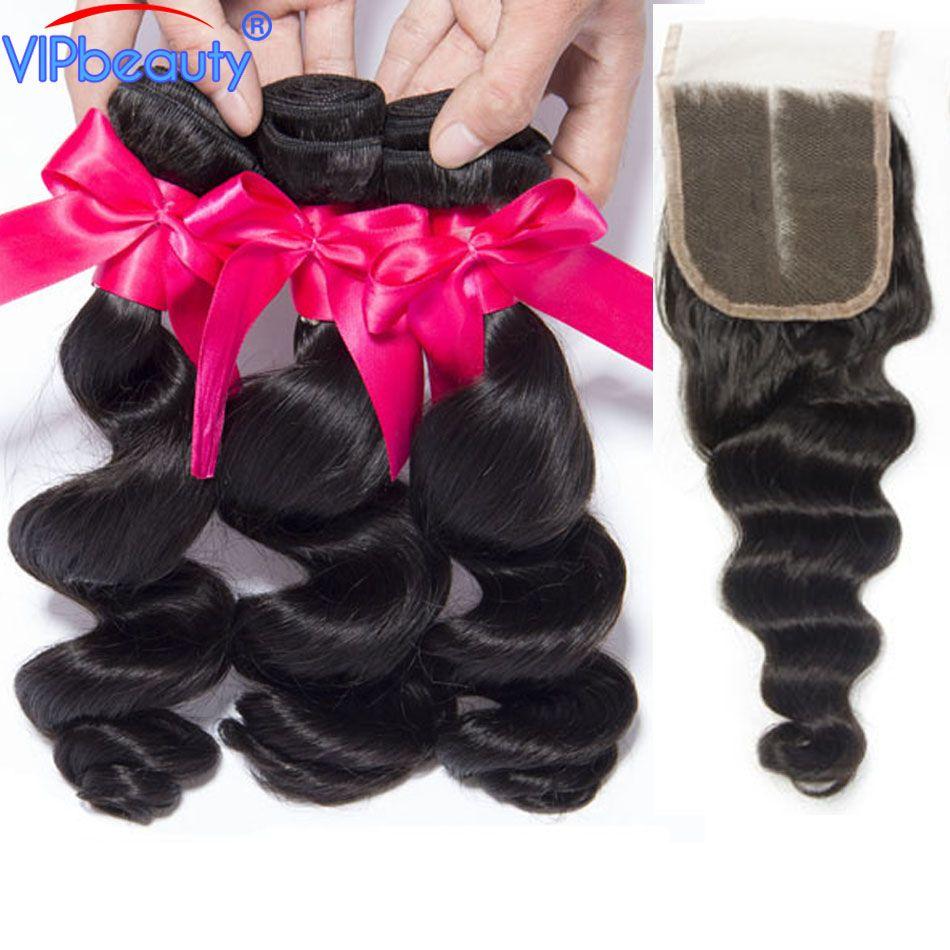 Vip Beauty Malaysian Loose Wave 3 Bundles with Closure Remy Hair Extension Human Hair Bundles 4pcs/lot 1b