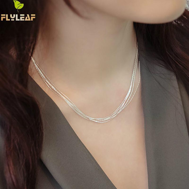 925 En Argent Sterling Collier de Chaîne Multicouche Pour Femme Style Simple Empêcher L'allergie Sterling-argent-bijoux Collier Femme