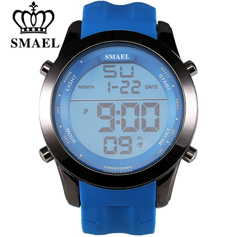 SMAEL Digital Watches Men Sports Waterproof Alarm Date Fashion Large Dial Hours Climbing Military Outdoor Casual Mens Wristwatch