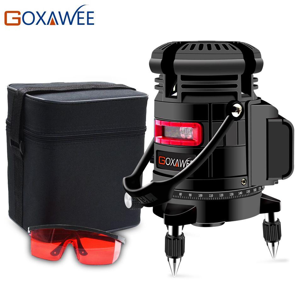 GOXAWEE 360 degrés rotatif 5 lignes 6 Points niveau Laser Vertical et Horizontal 3D auto nivellement automatique avec Mode extérieur