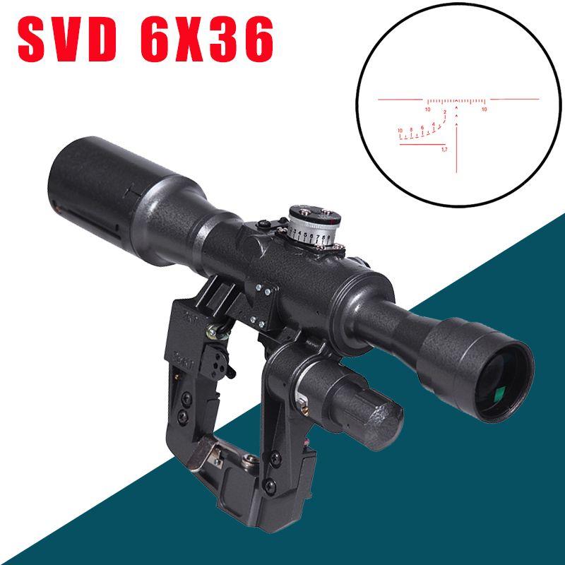 SVD 6X36 POS-1 Zielfernrohr Rot Beleuchtet Absehen Optische Anblick Umfang Berg Passend für Tcatical Tigr SKS Saiga Vepr gewehr AK armee