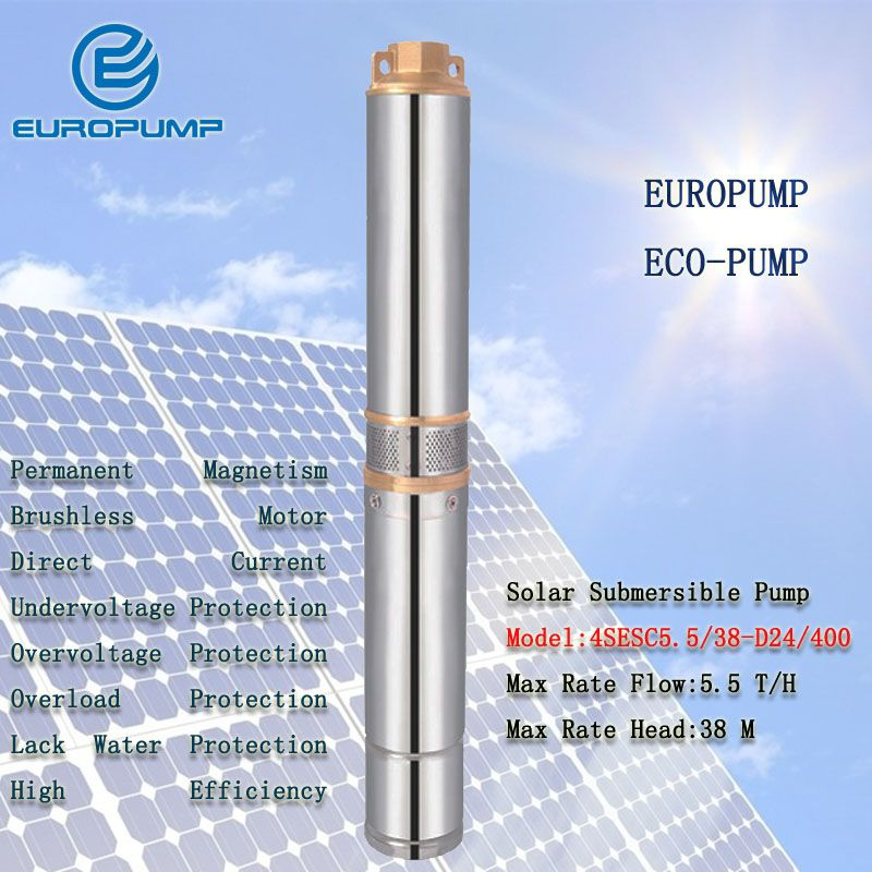EUROPUMP MODEL(4SESC5.5/38-D24/400) DC24V Water Pump,Max 5500L/H 38M Head Stainless Steel 304 Pump, DC Solar Submersible Pump