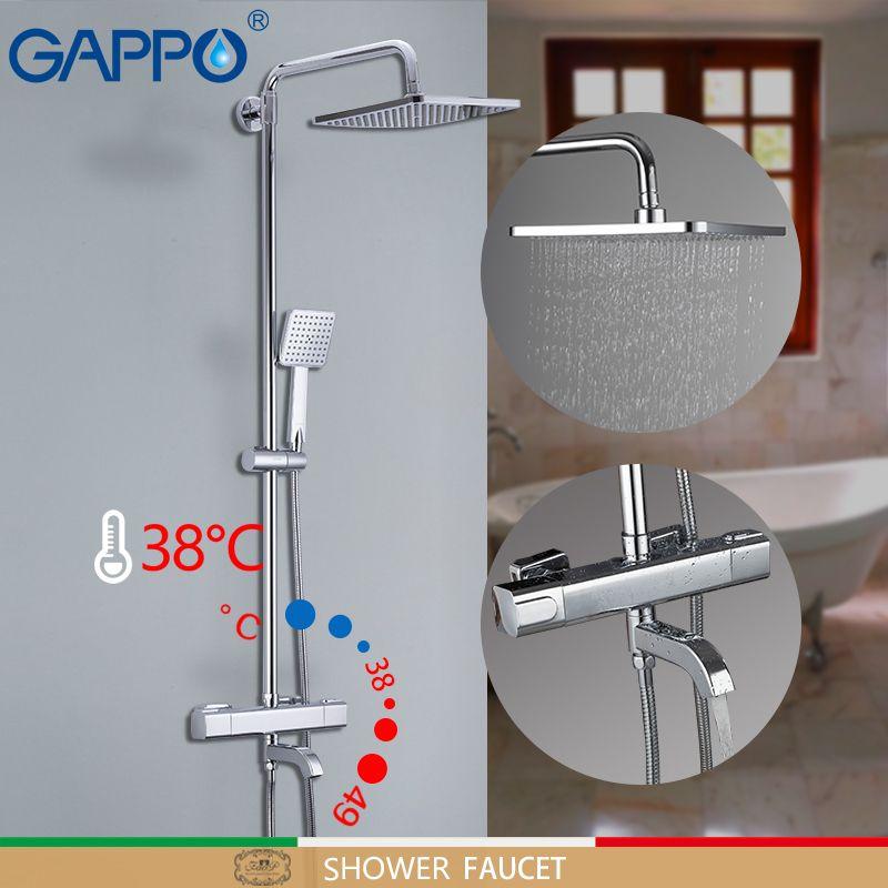 GAPPO shower Faucets bathtub faucet thermostatic bathroom shower faucet bath mixer wall mounted rainfall shower set mixer tap