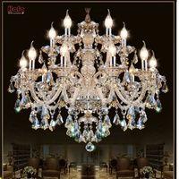 Candelabro de cristal moderno sala de estar lustres de cristal decoración Tiffany colgantes y candelabros iluminación del hogar lámpara de interior