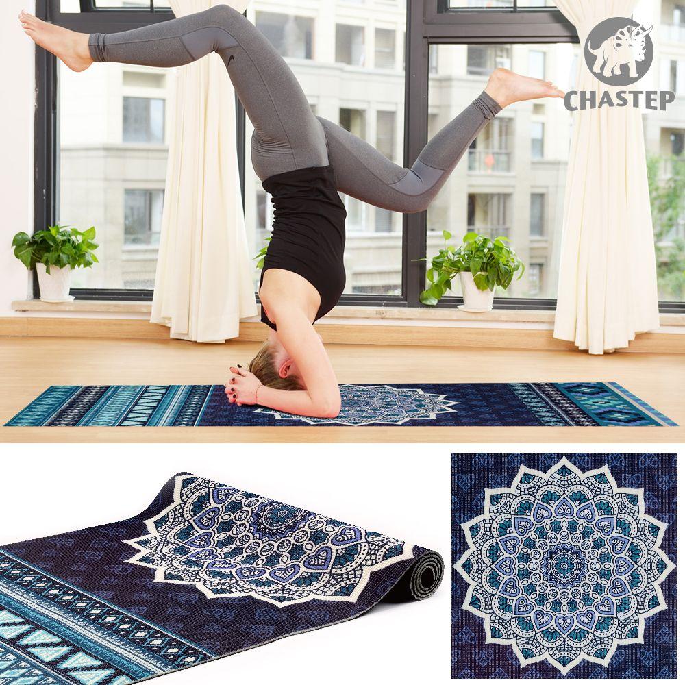 100% нетоксичный ПВХ материалов 6 мм Толщина Chastep уникальный Дизайн спортивные упражнения Коврики для йоги для Фитнес Гимнастика с Йога сумка