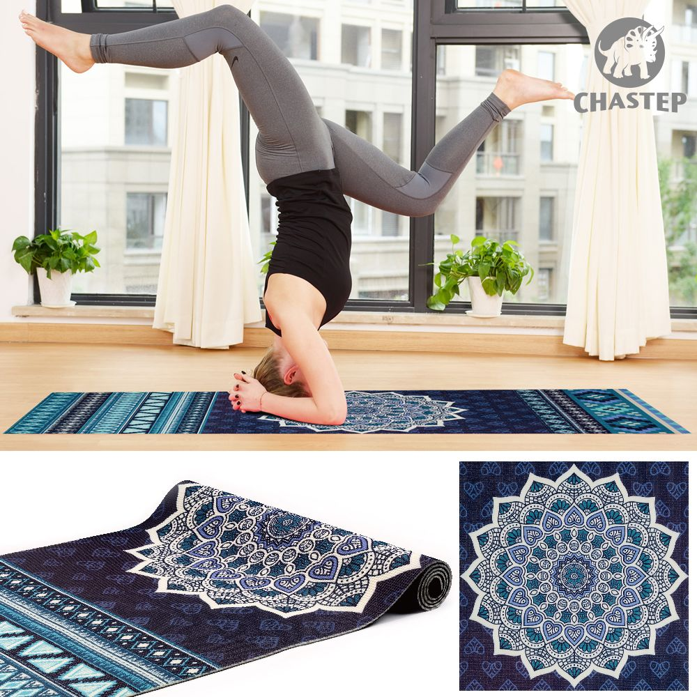 100% Non Toxic PVC Materials 6mm Thickness Chastep Unique Design Sport Exercise Yoga Mats for Fitness Gymnastics With Yoga Bag