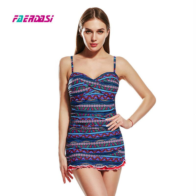 Faerdasi Women 2018 Dress Swimsuit One Piece Bathing Suit Thong Swimwear Retro Vintage Bathing Suit Plus Size Padded Beachwear