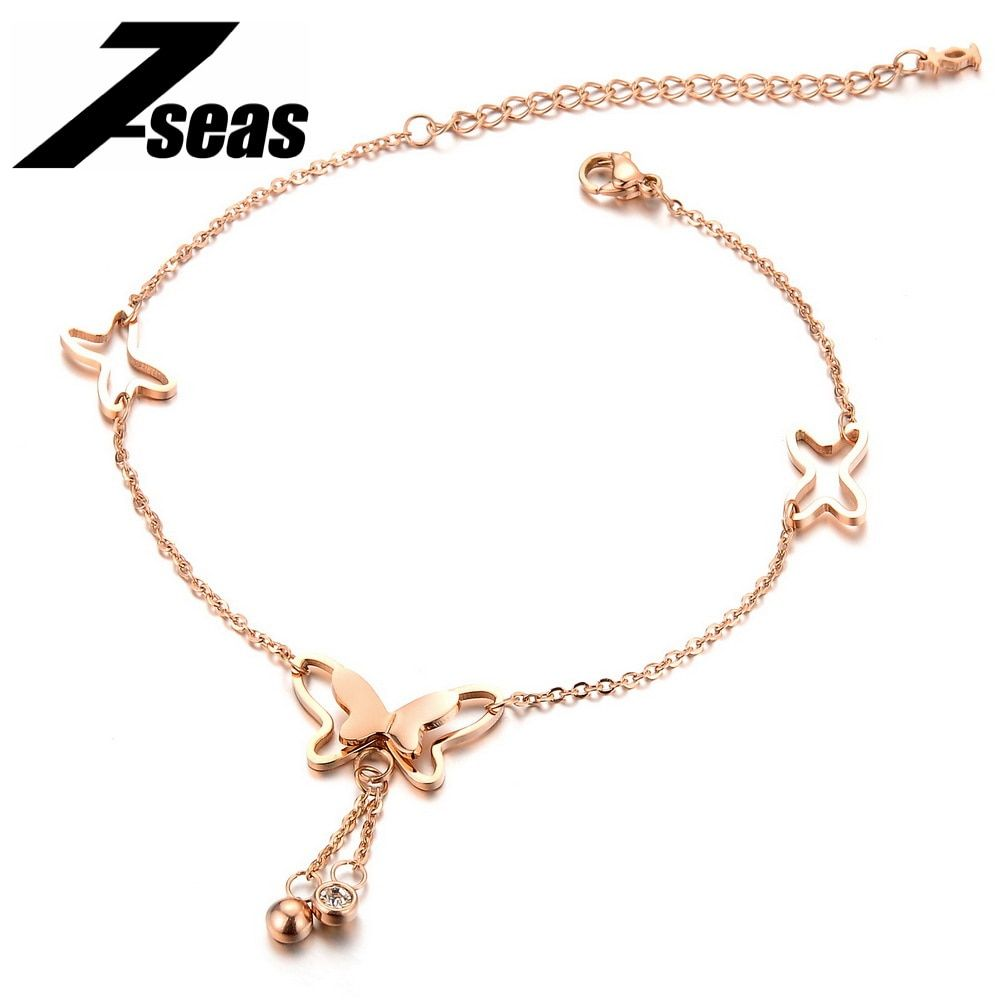 Korean Fashion Charm Rose Gold Color Butterfly Rhinestone Sandal Anklet For Women Fashion Girl Foot Chain Bracelet Jewelry Gift