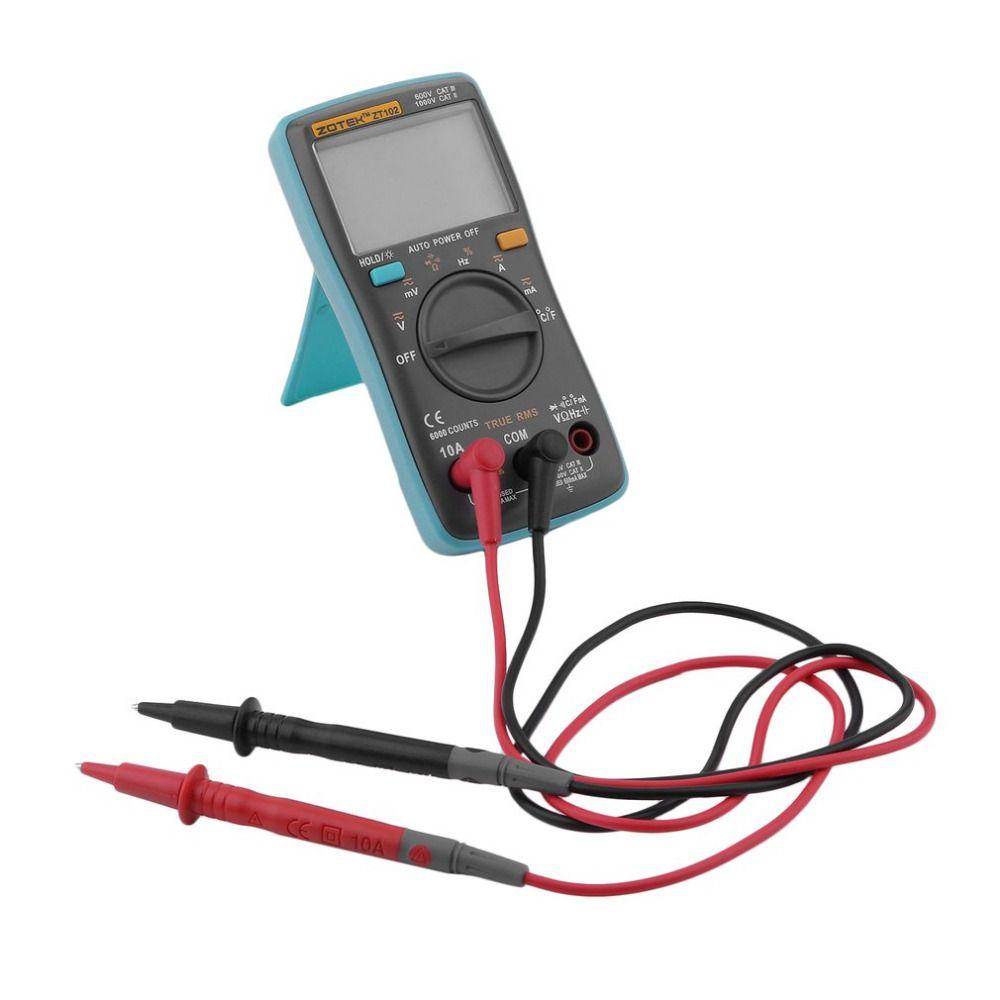 Zt102 Цифровой мультиметр 6000 отсчетов Подсветка AC/DC Амперметр Вольтметр низкого Напряжение индикация Портативный метр
