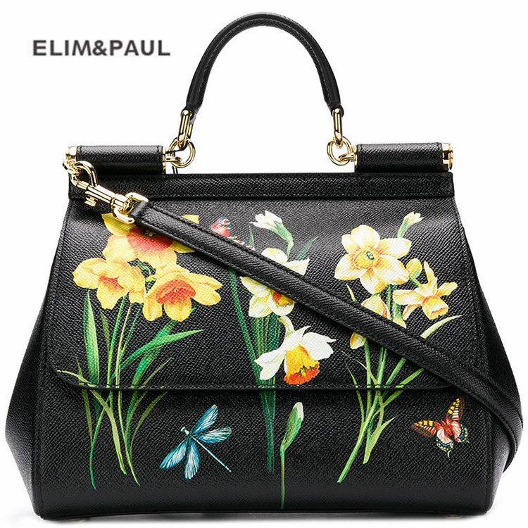 Luxus Marke Sizilien Ethnische Blume Gedruckt Echtem Leder Tote Tasche Frauen Platin Taschen Handtasche Weibliche Schulter Tasche/Handtasche