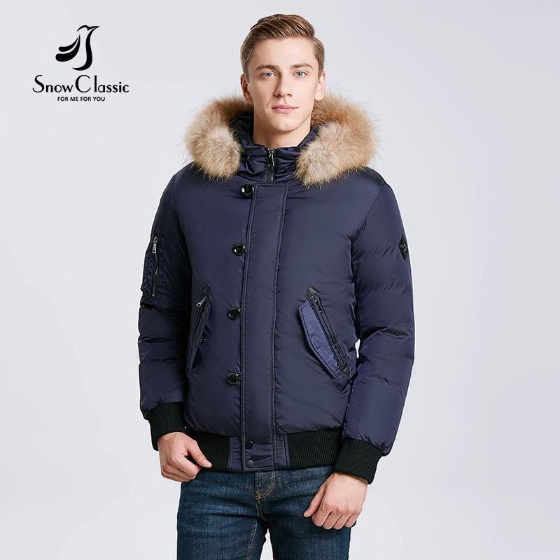 Snowclassic 2018 winter men's jacket hair thickening warm fashion business casual porter section of large yards of wind 17533