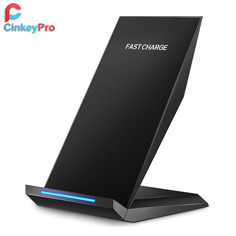 Support chargeur sans fil CinkeyPro QI 2 bobines Charge rapide Charge rapide 2.0 pour iPhone 8 10 X Samsung S8 téléphone Mobile universel