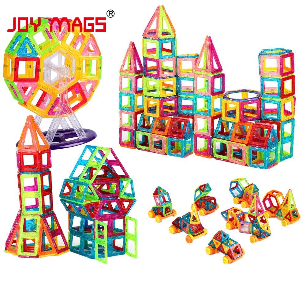 JOY MAGS Toy Mini Magnetic 100/110/130 Pieces/lot Construction Building Blocks Toys DIY 3D Magnetic Designer Educational Bricks