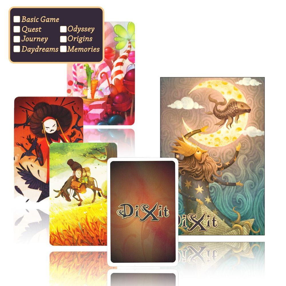 cards game dixit English board game,basic/quest/odassey/origins/journey/daydreams/memories,playing card jogo juego