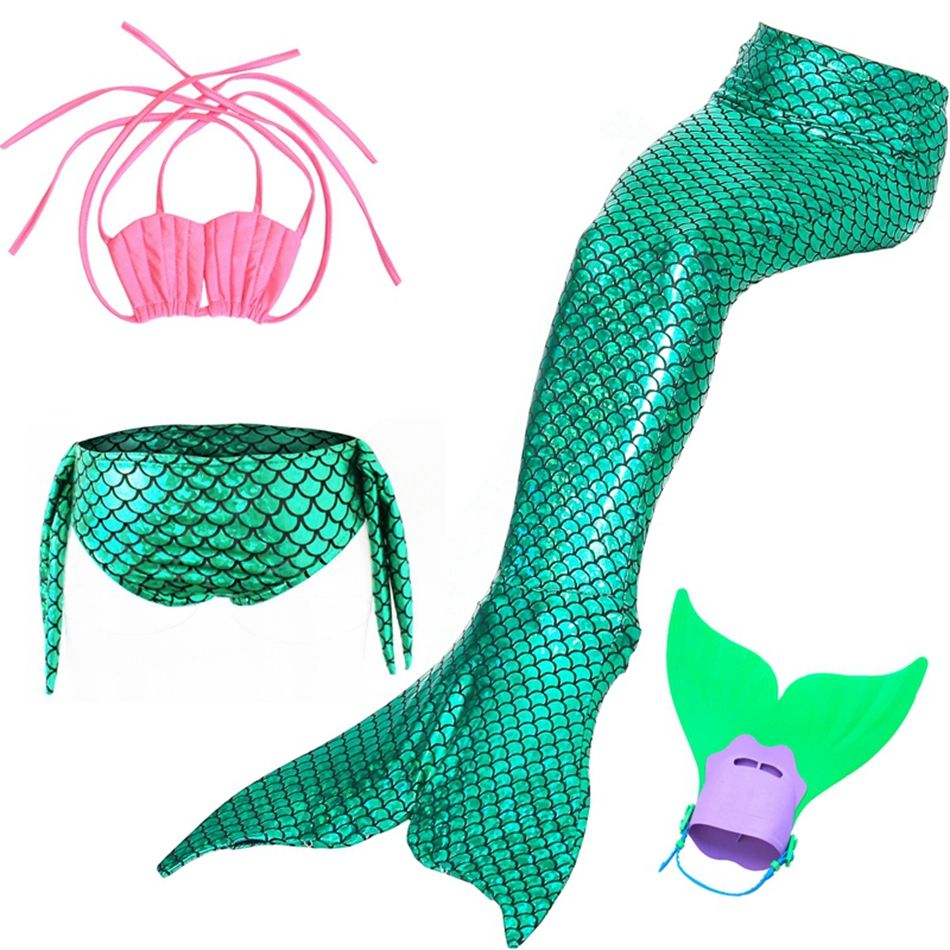Swimmable Mermaid Tail Cosplay Kids for Girl Fancy Swimsuit Mermaid Tail With Monofin For Kids 4 Pieces Girl's Mermaid Costume
