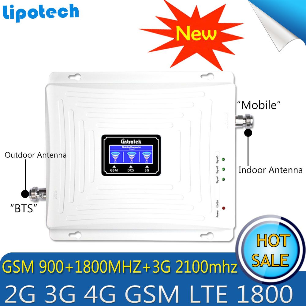Lintratek 900/1800/2100MHz Booster 2G 3G 4G Signal Tri Band Repeater LCD Display Mobile Phone Cellular Signal Amplifier